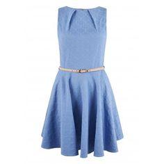 Closet Blue Bloomsbury Textured Belted Flared Dress - Skater Dresses - Dresses - Clothing