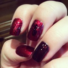 Spiderman nails~ drawn with a sharpie :)