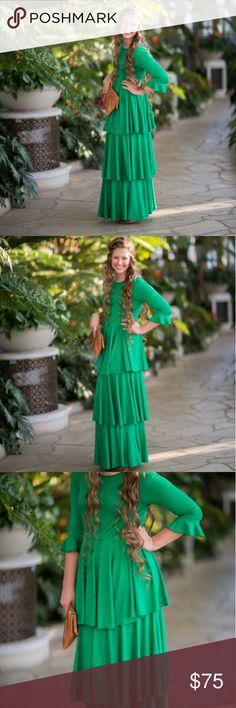 Dainty Jewels Emerald Darling Green Maxi Dress BRAND NEW with Tags!!! Never worn, brand new dress from Dainty Jewells maxi ruffle dress!! Size Small fits true to size. Beautiful modest dress!! Dainty Jewells  Dresses Maxi