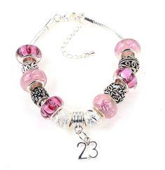 23rd Birthday Deep Pink Themed Murano Charm Bracelet