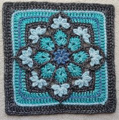 JulieAnny's Stained Glass Afghan Square pattern by Julie Yeager -Wild Salt Spirit: This afghan square is fast, fun and deceptively easy to crochet. Use black as your outline for a stained glass effect, or go with a bright or muted palette. Crochet Motifs, Granny Square Crochet Pattern, Crochet Blocks, Crochet Squares, Crochet Stitches, Crochet Afghans, Crochet Blankets, Granny Square Tutorial, Cute Crochet