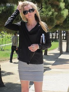 Love this comfy striped pencil skirt - She always gets it right. From Atlantic-Pacific