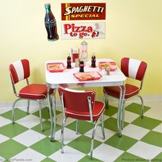 retro formica table - I've always wanted black n white tiled floors in a kitchen eating area...