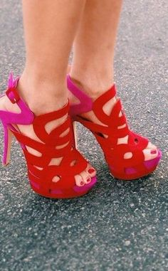 Red + Pink Cutout Heels <3