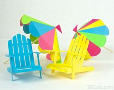 Adirondack chair and beach umbrella cutting files from 3DCuts.com, Marji Roy, 3D cutting files in .svg, .dxf, and pdf. formats for use with Silhouette and Cricut cutting machines