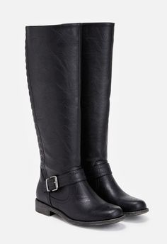 These faux leather boots are great for chilly days and autumn strolls. They feature a quilted back detail and back zip closure.  ...