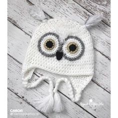 Snowy Owl Crochet Hat -  free baby to adult sized pattern at Yarnspirations