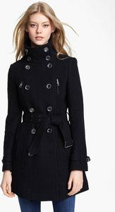 NWT Burberry Brit AW12 Double Breasted Funnel Neck Wool Trench Coat Jacket 10 12