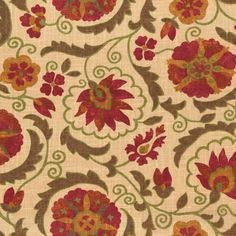 Suzani Q - Cinnamon:  This fabric has a global suzani design in red, green and brown on a warm tan background.