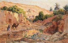 Algérie - Peintre français   Alphonse BIRCK(1859-1942) , huile sur panneau , Titre : Bord de l'eau à Bou- Saada
