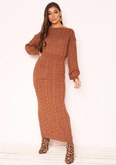 bc2bff650a2 Missyempire - Noara Rust Knit Midi Co-ord Set Midi Skirt With Pockets