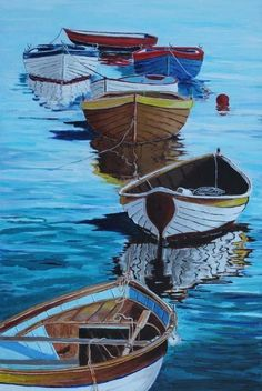 The best DIY projects & DIY ideas and tutorials: sewing, paper craft, DIY. Beauty Tip / DIY Face Masks 2017 / 2018 Amazing water in this acrylic painting by member Stephen M Law. Wooden Row Boat, Classic Wooden Boats, Boat Art, Boat Painting, Watercolor Paintings, Canvas Art, Illustration, Face Masks, Arte Creative