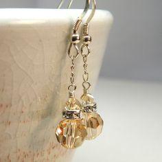 Champagne Crystal Earrings, Sterling Silver, Wedding, Bridal, Handmade Jewelry, Spring Fashion. $18.00, via Etsy.