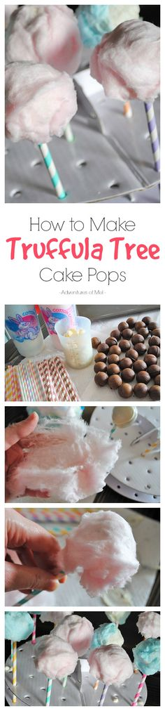 Inspired by Dr. Seuss' The Lorax, make your own Truffula Tree Cake Pops, using cotton candy. Just in time for Earth Day or even a fun snack to add to your list of Dr. Seuss birthday party ideas. Scrumptious too!