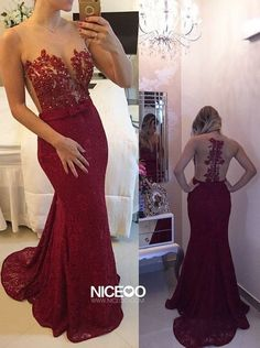 Sexy Maroon Scoop Neck Sweep Train Lace formal dresses with Beading