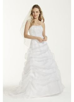 Organza Draped Wedding Dress with Beaded Lace L9479