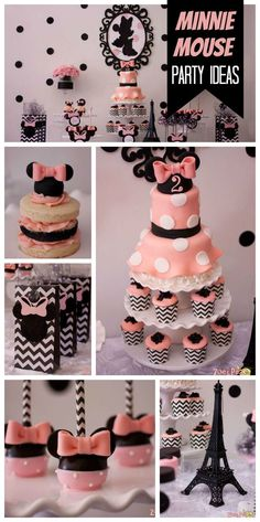A delightful pink Minnie Mouse birthday party with cookie stacks, chocolate covered Oreos and cake pops! See more party planning ideas at CatchMyParty.com!: