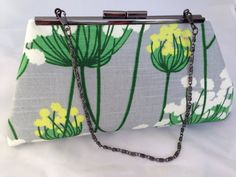GRAY/ GREEN FLORAL clutch with chain by ClutchChemistry on Etsy