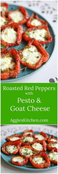 Roasted Red Peppers with Pesto and Goat Cheese A simple yet impressive side dish or appetizer Roasted Red Peppers with Pesto and Goat Cheese are full of flavor and a delicious addition to any meal pesto goatcheese appetizer via Aggie s Kitchen Vegetarian Recipes, Cooking Recipes, Healthy Recipes, Whole30 Recipes, Recipies, Fingers Food, Pilsbury Recipes, Pepperoni Recipes, Antipasto