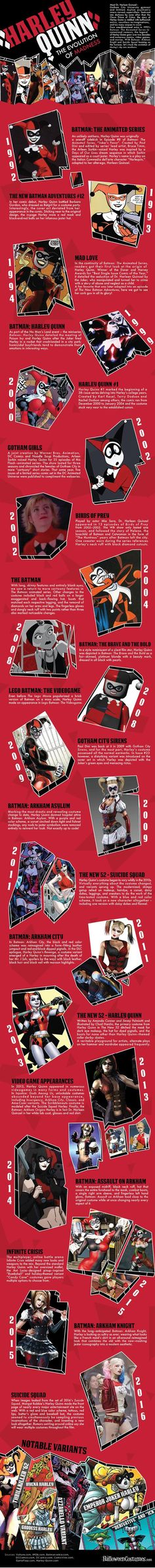 Since her creation in the 1992 Batman Animated Series, Harley Quinn has been a fan favourite and one that has since endured in the various incarnations of Batman. Check out this cool infographic outlining her crazy evolution.
