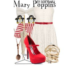 """Mary Poppins"" by lalakay on Polyvore    AND the dress is eyelet lace. I am having a total girl freakout right now."