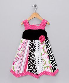 Pink & Black Panel Dress - Toddler & Girls by AnnLoren on today! Toddler Girl Dresses, Little Girl Dresses, Girls Dresses, Toddler Girls, Baby Dresses, Cute Outfits For Kids, Boy Outfits, Pakistani Frocks, For Elise