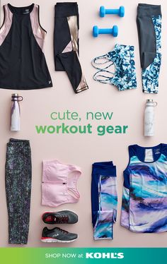 Get cute, new workout gear at Kohl's. You'll find great deals on women's matching tanks, sports bras and leggings in fun prints, as well as colorful tees, stylish running shoes and pretty water bottles to keep you refreshed at the gym and beyond. Stock up Workout Gear, Leg Day Workouts, Workout Leggings, Body Workouts, Running Workouts, Fitness Brand, Fitness Style, Fitness Apparel, Fitness Wear