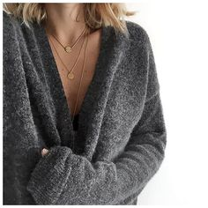 layered minimal necklaces   cosy sweater    Audrey (@audreylombard) • Instagram photos and videos