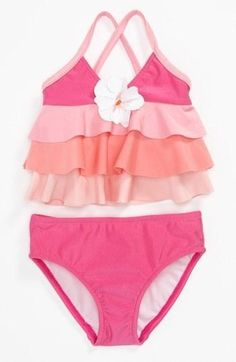 ruffled 2 piece swimsuit