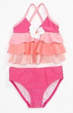 ruffled 2 piece swimsuit