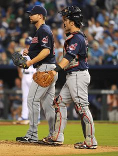 CrowdCam Hot Shot: Cleveland Indians starting pitcher Corey Kluber talks to catcher Yan Gomes during the game against the Kansas City Royals in the third inning at Kauffman Stadium. Photo by John Rieger
