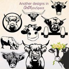Scottish Cow, Cow Png, Cow Head, Cattle, Farm Animals, Original Artwork, Clip Art, Drawings, Stencils