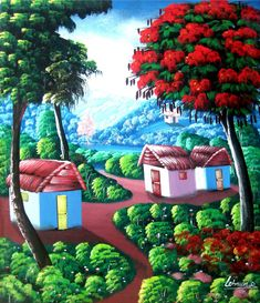 Haitian art - Canvas painting - Ethnic art - Caribbean Art, Haitian Painting, Original art - Naive Art, Primitive Art - Art of HaitiHaiti is well known for its art. Having lived in Port au Prince, Haiti for 30 years, I have worked with many of the Haitian artists. You will find that the prices that