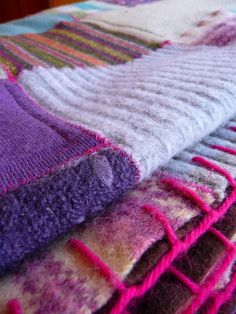 wool sweater quilt | Sweater blanket. Look at the stitches. Click through for lots of ...