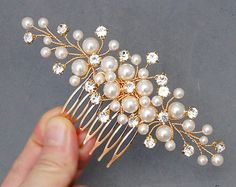 Gold Bridal Hair Pieces White Wedding Hair Flowers by adriajewelry