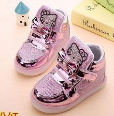 015dadca0f85 Hello Kitty Rhinestones LED Shoes. Baby Girl ShoesKid ...
