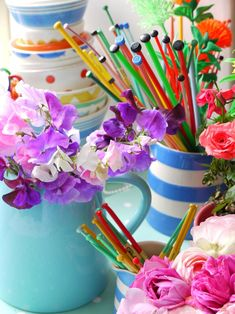 sweet peas and knitting needles