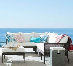 Cammeray All-Weather Wicker Sectional Set | Pottery Barn $2,794 with cushions.  http://www.potterybarn.com/products/cammeray-all-weather-wicker-sectional-set/?pkey=call-outdoor&&call-outdoor