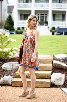 Pom Pom Paisley Dress || The Mint Julep Boutique https://www.shopthemint.com/products/pom-pom-paisley-dress-orange-blue