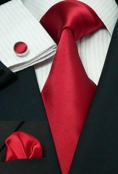 13H Bacrelli Deep Red 100% Silk Tie Set « Mens Silk Ties | Wedding Ties | Ascots | Best Bowties