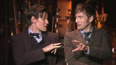 Matt Smith and David Tennant Interviewed Behind the Scenes of the Doctor Who 50th Anniversary Special
