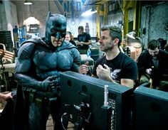 Director Zack Snyder & Ben Affleck(Batman ) on set of Batman V Superman : Dawn Of Justice(2016)
