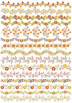 ITEM: Floral Borders Clipart - Vector Floral Clipart, Flowers Border Clipart, Autumn Flowers Border Clipart, Vector Floral Border Clip Art for Personal and Commercial Use,. Hand Embroidery Designs, Embroidery Patterns, Flower Border Clipart, Flower Boarders, Banner Doodle, Mothers Day Drawings, Cross Stitch Borders, Floral Border, Border Design
