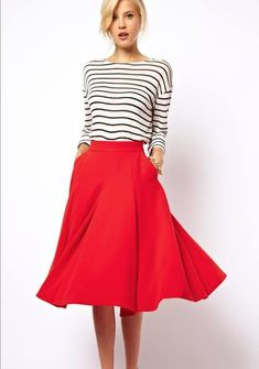 Striped top with red skirt ....This style is my current obsession.
