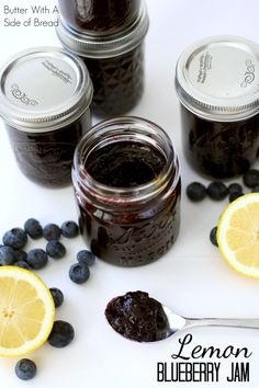 Lemon Blueberry Jam~ it's INCREDIBLE! The bit of lemon really brings out the fresh, sweet flavor of the blueberries. A #recipe from the ladies at Butter With A Side of Bread #jam #blueberries