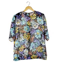 Vintage sheer floral short sleeve top by FannyAdamsVC on Etsy