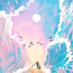 어린왕자 Art And Illustration, Watercolor Illustration, Illustrations, Kunst Inspo, Art Inspo, Fantasy Kunst, Fantasy Art, Crayons Pastel, Image Nature