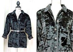 a55c85e0c135 Black faux fur coat jacket size M Petite / Vintage 80s Karen Kane USA Karen  Kane