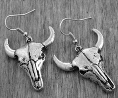Cattle Skull Earrings Silver Cattle Skull Jewelry Gothic Goth Heavy Metal Cow Skull Cow Head Southwestern Native American Indian Southwest