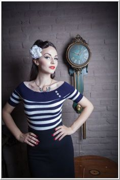 MISS FORTUNE-Nautical Nancy Off The Shoulder Top-Navy